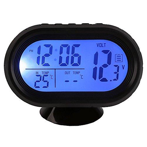 Temperatur-digital-thermometer (HOTSYSTEM 12-24V Multifunktion Digital Uhr Voltmeter und Thermometer Alarm 3in1 2 LCD Anzeige Farben Zigarettenanzünder Batterie Tester Blau+Orange)