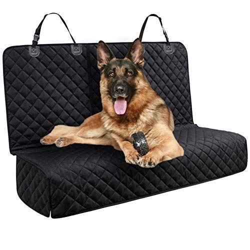 DakPets Dog Car Seat Covers - Pet Car Seat Cover Protector - Waterproof, Scratch Proof, Heavy Duty and Nonslip Pet Bench Seat Cover - Middle Seat Belt Capable for Cars, Trucks and SUVs