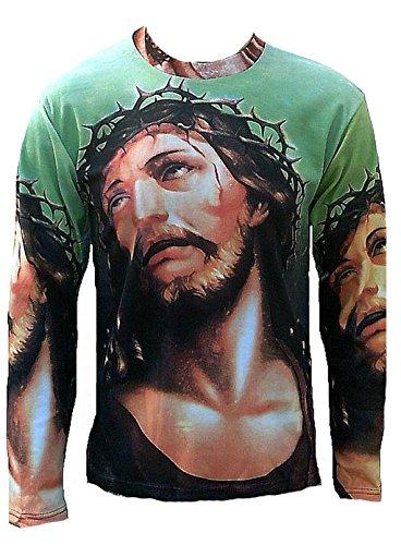 Ticila Herren T-Shirt Grün Jesus Christ Dornen Krone Kreuzigung Christus Thorns Crown Religion Super Star Designer Art Kunst Motiv Galerie ViP Rockstar Design L 52/54 (Jesus Thorn Krone)