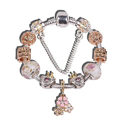 Yisj armband Kristall Herz Charm Bead Armbänder Armreifen für Frauen Gold Freies Schiff Armband Femme Schmuck Nettes Armband 20 cm (Freund Armbänder Schiff)