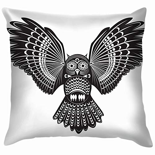 beautiful& Wild Totem Animal Owl Animals Wildlife Cotton Throw Pillow Case Cushion Cover Home Office Decorative, Square 18X18 Inch