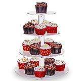 4-Etagen Cupcake Ständer, Tortenständer, Klar Runde Acryl - Hält bis zu 30 Cupcakes! Elegant Desserts Muffin Sushi Halter - Hoch Qualität & Haltbarer für Hochzeit, Geburtstage, Baby-Duschen.