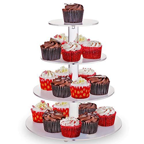 4-Tier Soporte para Cupcakes - Redondo Transparente Acrílico - Elegante, Alta Calidad - Soportes para Tartas Durable y Soporte de Exhibición del Postre| Cupcake Stand para Fiestas, Bodas, Cumpleaños.