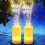 Wawer Weihnachtsbeleuchtung Flammenlose Kerzen LED-Kerze-Lichter Flammenlose Projektion Flackernde LED Teelichter Fernbedienung Weihnachtsdeko 4 Modi (Schneeflocke)