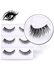 VALUE MAKERS® 3 paires/ensemble modèles Noir Faux Cils Allongement 3D volumineux Vison Authentique Pour maquillage yeux de