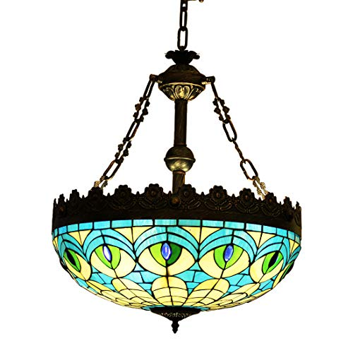 Makenier Vintage en verre style Tiffany effet vitrail Bleu paon plume Symétrie inversée Motif plafond Pendentif lumière, 50,8 cm Abat-jour