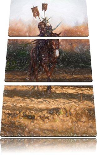 Samurai Krieger auf einem Pferd Kunst Buntstift Effekt 3-Teiler Leinwandbild 120x80 Bild auf Leinwand, XXL riesige Bilder fertig gerahmt mit Keilrahmen, Kunstdruck auf Wandbild mit Rahmen, gänstiger als Gemälde oder (Kostüm Japanische Krieger)