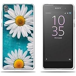 """Funda Sony Xperia E5 Carcasa Ultra Fino de Cristal Claro, Encantador Dibujo de Margaritas, Duradera, Suave, Flexible, [Antipolvo] [Resistente A los Arañazos] [Protección con Goma de Alta Calidad] Funda para Sony Xperia E5 (5.0"""")"""