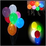 Colleer 15 Pz Palloncini Colorati con Luce LED Balloons Luminoso Multicolori per Party, Compleanni, Matrimoni, Decorazione
