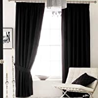 Black Curtains 66 x 54 Pair of Faux Silk Fully Lined Pencil Pleat Ready Made width 66 x 54 drop by Linenstowels2011