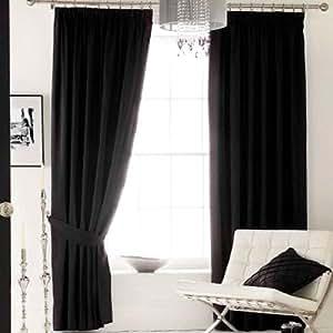 hochwertige schwarze unterf tterte gardinen oben fein gerafft 167 x 137 cm. Black Bedroom Furniture Sets. Home Design Ideas