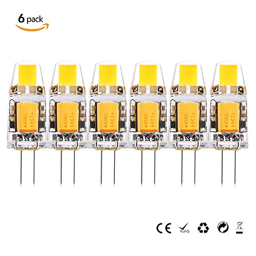 G4 COB LED Bulbs, ENNELP G4 Warm White Non Dimmable 1W 0705 COB LED Light bulb AC DC 12V Crystal Spotlight Lamp Bulb 10W Energy Saving Halogen Light bulbs Replacement - (Pack of 6)