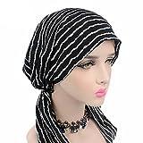 Frauenalltags Baumwolle Kopftücher, MoreChioce Damen Turban Hut Frauen Bandana Kopftuch kopfbedeckung Mädchen Weiche Stirnband für Make-up Haarverlust, Mode-Streifen
