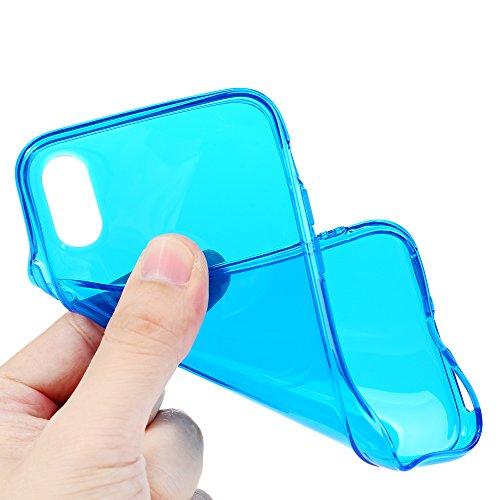 MAXFE.CO TPU Silikon Hülle für iPhone X Handyhülle Schale Etui Protective Case Cover Rück mit Einfarbig Skin TPU Kantenschutz Verdicken 1.22 MM Schutzhülle Rose Rot Blau
