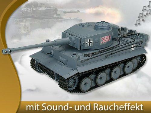 Melko® RC Panzer Kampfpanzer German Tiger 1:16 Heng Long 3818-1 mit Rauch-, Sound- und Schussfunktion, ferngesteuert (Long Rc Heng Panzer)