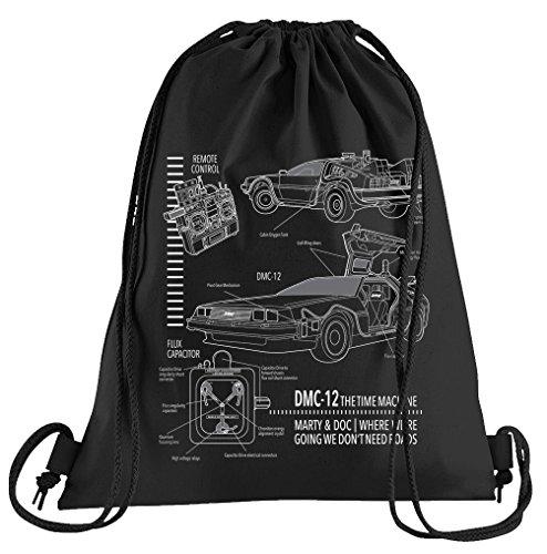 T-Shirt People DMC-12 Blueprint Sportbeutel – Bedruckter Beutel -