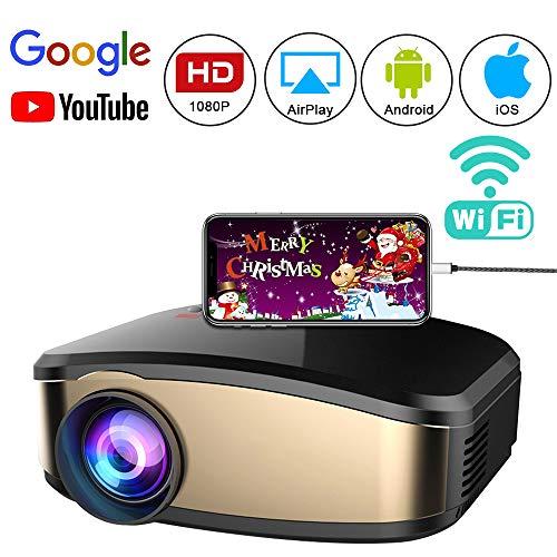 Drahtloser WiFi Video Projektor voller HD 1080P, FAERSI tragbarer LED Mini Heimkino Film Projektor mit HDMI USB VGA AV kompatibel mit IOS Android Smartphones PC TV Laptop