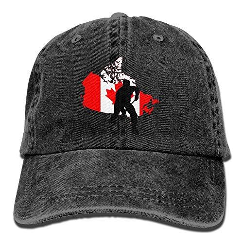 Sdltkhy Erwachsene Kanada Flagge Karte Hockey Spieler gewaschen Denim Baumwolle Baseball Cap Papa Hut einstellbar Marine Multicolor66 (Hockey Spieler Kostüm Frauen)