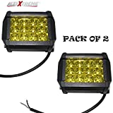 #8: AllExtreme EX12FY2 Heavy Duty 12 LED CREE Fog Light Work Light Bar Spot Beam Off Road Driving Lamp Universal Fitting for All Bikes and Cars (36W, Yellow, Pack of 2)
