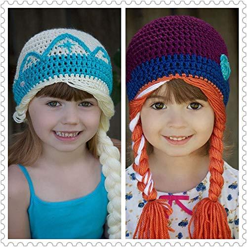 Wildlead kids frozen queen cosplay costume cute kids maglia di lana cappelli cappello per bambini, cappelli ragazze cap, purple, large