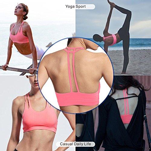 DeepTwist Donna Sportivo Yoga BH Running Reggiseno T-indietro Tampone Rimovibili Fitness Bra Rosa