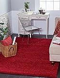 "A2Z Rug ( 120cmx160 cm (4ft x 5ft3"") Red ) Cozy Shag Collection Solid 5.5 cm Pile Shag Rug Contemporary Living & Bedroom Soft Shaggy Area Rug, Carpet"