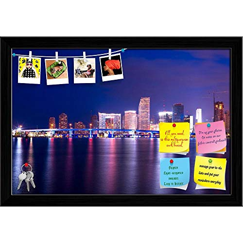 Artzfolio Downtown Cityscape, Miami, Florida, Usa Printed Bulletin Board Notice Pin Board | Black Frame 23.5 X 16Inch