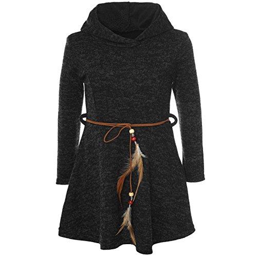 (BEZLIT Mädchen Kleid Kostüm Kapuze Peticoat Festkleid Langarm 21578 Schwarz Größe 116)