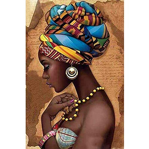 Ogquaton Cuadrado Completo 5D DIY Diamante Pintura Mujer Africana Bordado Punto de Cruz 3D Decoración para el hogar Durable y útil