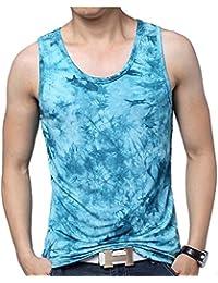 Chaleco de Verano de los Hombres Mercerized Camiseta sin Mangas de Algodón Ink Sweat Impreso Chaleco de Sudor de Gran Tamaño…