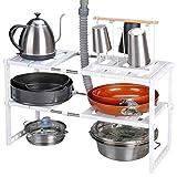 Rackaphile - Almacenaje de cocina bajo fregadero, Estante de almacenamiento extensible de 2 niveles de acero inoxidable para baño, cocina, lavandería, armario, color blanco