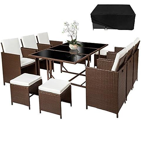 TecTake Poly Rattan 6+4+1 Sitzgruppe 6 Stühle 4 Hocker 1 Tisch + Schutzhülle & Edelstahlschrauben braun mixed