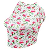 Chinatera Boy's Car Seat Cover Nursing Breastfeeding Cover Scarf Stroller Seat Canopy Multi Use Infinity Stretchy Shawl One Size Hibiscus
