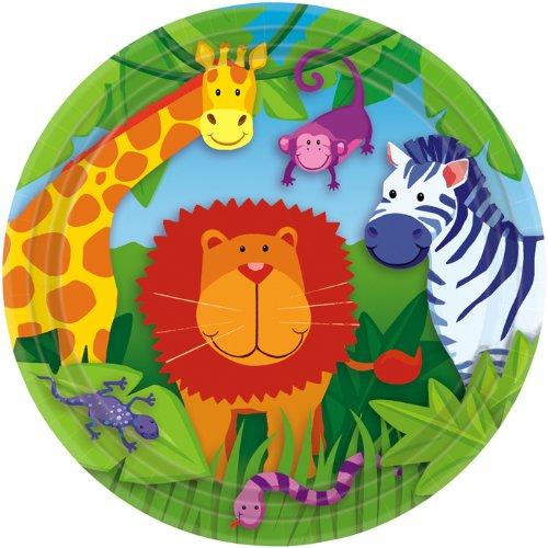 NEU Teller Jungle Animals, 23 cm, 8 (Dschungel Kostüme Australien)
