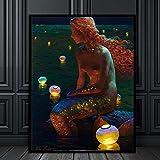 XIAOXINYUAN Malerei Wand Kunst Fantasy Vintage Girl Bild Leinwand Für Wohnzimmer Wohnzimmer Schmuck Kunst 16 X 20 cm Ohne Rahmen
