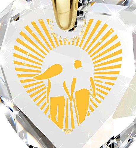 Bijoux Coeur - Pendentif Romantique Plaqué Or avec I Love You to The Moon and Back inscrit à l'Or 24ct sur un Zircon Cubique en Forme de Coeur, Chaine en Or Laminé de 45cm - Bijoux Nano Transparent