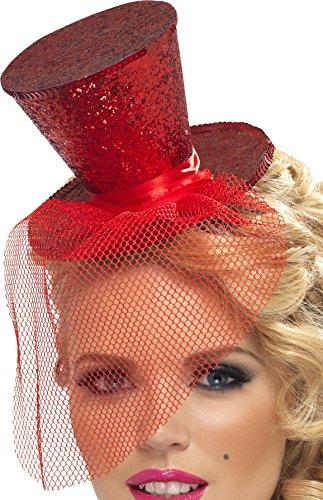 Smiffys, Fever, Damen Mini Hut auf Haarreif, One Size, Rot, (Rot Girl Saloon Kostüme)