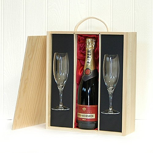 Fine Food Store Piper-Heidsieck Champagne and 2 Flutes in Luxury Gift Box NV 75 cl