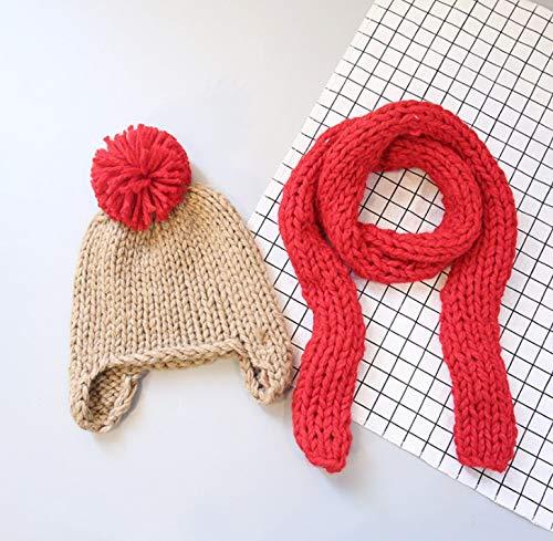 Boy Hat, Cute Baby Boy Mädchen Winter Hat Schal Set, Kleinkind Kinder Beanie Hat Herbst Winter Warm Knit Soft Cotton Hat Schal Für Baby Kids,C - Handschuh-set Kleinkind Hat