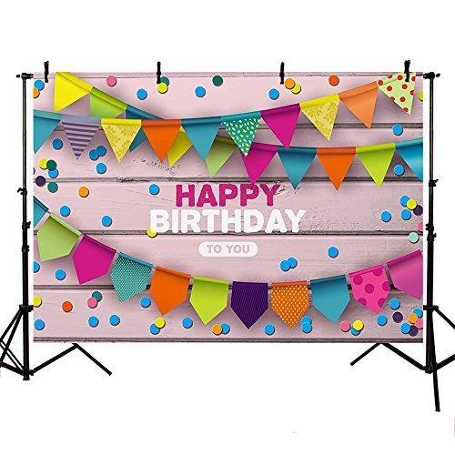 mehofoto Photography Hintergrund Happy Birthday Party Dekoration Colorful Flagge Holz Foto Studio Bedruckt Booth Hintergrund 8x 1,83m (Dot Stoff Vorhang)