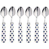 """Kitchencraft Color Lunares Dot-Patterned cucharillas, 15,5cm (6"""") (Juego de 6), Acero Inoxidable, Azul, 15,5x 3x 2cm"""