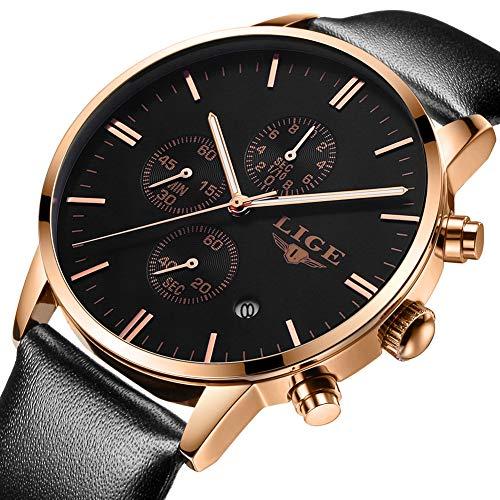 Montres pour Hommes Imperméable Quartz analogique Montres Bracelets en Cuir pour Homme Marque de Luxe LIGE Affaires Grand Cadran Horloge Noire en Or Rose