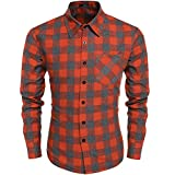 Burlady Herren Karohemd Kariert Hemd Slim Fit Trachtenhemd Super Modern super Qualität fürs Oktoberfest geeignet (L, A-Orange)