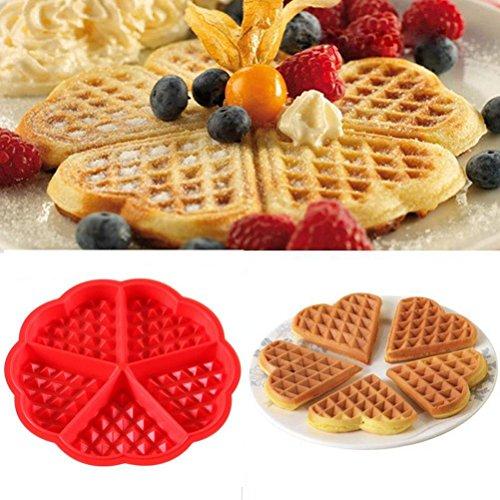Waffeln Pan Kuchen Backform Upxiang Mini Runde Waffel Tablett Silikonform Küche Werkzeug Kochwerkzeug (Rot)