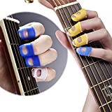 Malayas® 4 Stück Gitarre Fingerspitzen Fingertips Fingerschutzkappen Protectors Silikon Finger Picks Schutzfolie Plektrum Für Gitarren Bass Ukulele