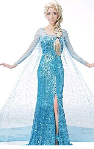 Lonely hero Damen Elegante Prinzessin Elsa Kleid mit warmer Stola Pailletten-Kleid Kostüm Cosplay Kleider - 2