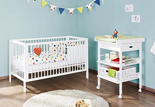 Pinolino 091475 2-Teilig, Kinderbett und Wickeltisch, Kiefer Teilmassiv, 140 X 70 cm, weiß lackiert