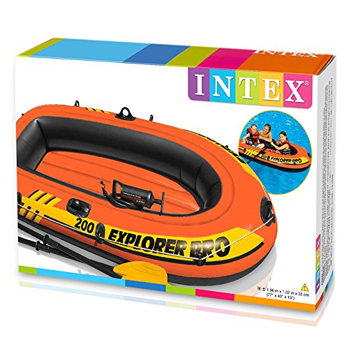 Intex Schlauchboot Explorer Pro 200 Set Phthalates Free Inkl. 2 Paddel und Luftpumpe, 196 X 102 X 33 cm -