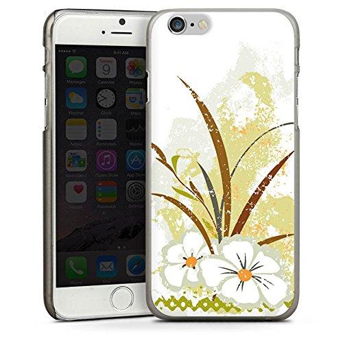Apple iPhone 4 Housse Étui Silicone Coque Protection Fleur Vert Motif CasDur anthracite clair