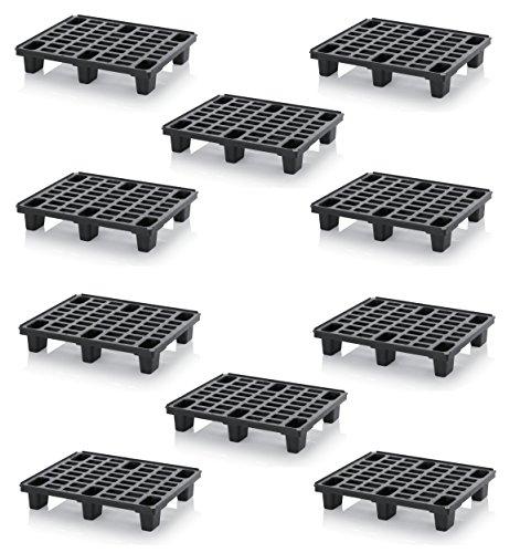 10x Leichtpalette 80x60 Kunststoffpalette im 1/2-Europaletten Maß inkl. gratis Zollstock * Halbe Palette, 10er Set -